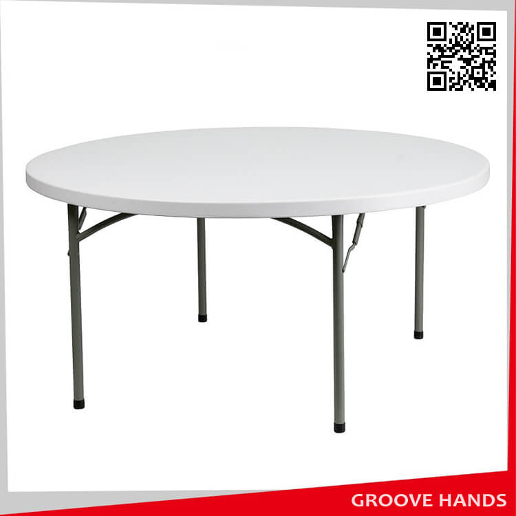 60 39 39 round white plastic folding table 8 people. Black Bedroom Furniture Sets. Home Design Ideas