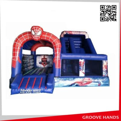 Spiderman Shaped Inflatable Castle with Slide (NL001)